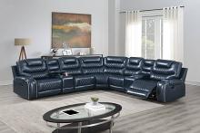 Poundex F86622 3 pc Red barrel studio Brixton navy blue gel leatherette power motion sectional sofa with consoles