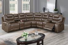 Poundex F86623 3 pc Red barrel studio Brixton brown gel leatherette power motion sectional sofa with consoles