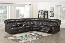 Poundex F8740 3 pc Red barrel studio Jubilee dark brown gel leatherette standard motion sectional sofa with console
