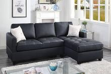 Poundex F8801 2 pc leta black faux leather sectional sofa reversible chaise
