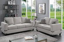 Poundex F8808 2 pc Dillion james mushroom chenille fabric sofa and love seat set