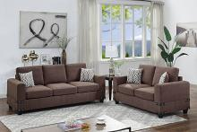 Poundex F8809 2 pc Dillion james chocolate chenille fabric sofa and love seat set