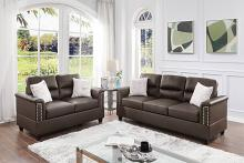 Poundex F8810 2 pc Dillion espresso faux leather sofa and love seat set