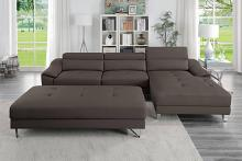 Poundex F8813 2 pc Orren ellis hayden espresso faux leather modern sectional sofa adjustable headrests