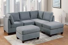Poundex F882 6 pc Latitude run mckenny grey linen like fabric modular sectional sofa set