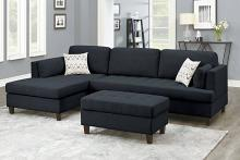 Poundex F8831 3 pc Ivy bronx vita black polyfiber fabric sectional sofa reversible chaise and ottoman