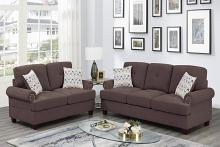 Poundex F8835 2 pc Dillion dark coffee chenille fabric sofa and love seat set rounded arms