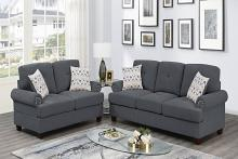 Poundex F8837 2 pc Dillion ash grey chenille fabric sofa and love seat set rounded arms