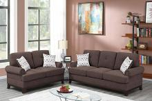 Poundex F8838 2 pc Dillion dark coffee chenille fabric sofa and love seat set rounded arms