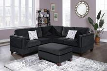 Poundex F8841 3 pc Canora gene black velvet fabric reversible sectional sofa and ottoman