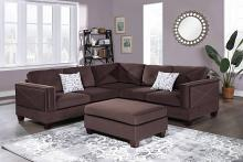 Poundex F8843 3 pc Canora gene dark coffee velvet fabric reversible sectional sofa and ottoman