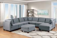 Poundex F885 9 pc Latitude run mckenny gray linen like fabric modular sectional sofa