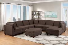 Poundex F887 9 pc Latitude run mckenny black coffee linen like fabric modular sectional sofa