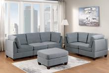 Poundex F890 6 pc Latitude run mckenny grey linen like fabric modular sectional sofa set