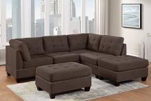 Poundex F904 6 pc Latitude run mckenny II black coffee linen like fabric tufted modular sectional sofa set