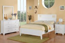 Poundex F9123 4 pc white finish wood panel bed full size bedroom set