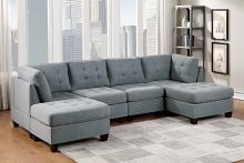 Poundex F913 6 pc Latitude run mckenny II grey linen like fabric tufted modular sectional sofa set