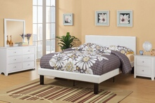 Poundex F9210F Cream faux leather padded full size bed frame with headboard ,13 slats and rails and footboard