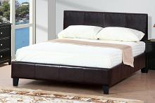 Poundex F9211Q Orren ellis wesley espresso faux leather queen bed set euro slat kit included
