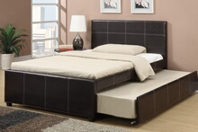 Espresso faux leather full size bed with twin size trundle bed, slat kits included