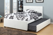 White faux leather twin size bed with twin size trundle bed, slat kits included