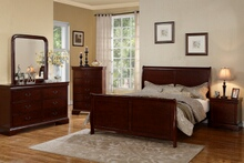 Poundex F9231 5 pc queen anne cherry finish wood sleigh style queen bed set