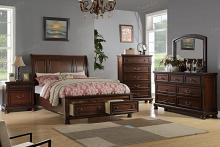 Poundex F9290Q-5pc 5 pc alician brown cherry finish wood queen curved back headboard platform bed set
