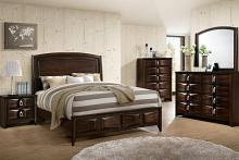 Poundex F9327Q 5 pc hampton medium cherry brown finish wood queen bed set