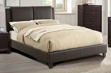 F9336Q A & J homes studio alisa brown faux leather queen bed set euro slat kit included