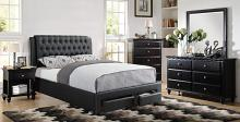 Poundex F9338Q 5 pc proctor black faux leather padded tufted espresso wood queen bedroom set