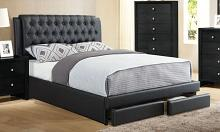 F9338Q Orren ellis jitekar black tufted faux leather queen bed set