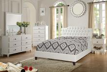 Poundex F9350Q 5 pc proctor white faux leather tufted queen bedroom set