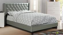 F9373Q A & J homes studio baku silver tufted faux leather queen bed set euro slat kit included
