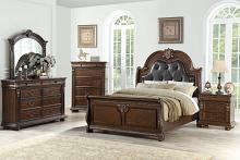 Poundex F9432Q 5 pc Palisades III cherry brown finish wood with tufted headboard queen bedroom set