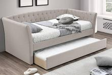 Poundex F9452 AJ homes studio huntington light brown fabric padded twin size day bed with pull out trundle