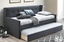Poundex F9457 AJ homes studio huntington charcoal fabric padded twin size day bed with pull out trundle
