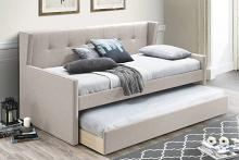 Poundex F9458 AJ homes studio huntington light brown fabric padded twin size day bed with pull out trundle