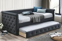Poundex F9460 AJ homes studio huntington charcoal fabric padded twin size day bed with pull out trundle