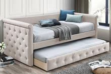 Poundex F9462 AJ homes studio huntington light brown fabric padded twin size day bed with pull out trundle