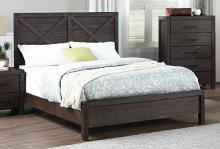 F9547Q Three posts georgette antique grey distressed finish wood panel queen bed set