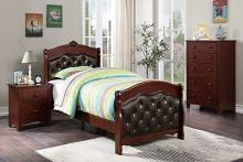 Poundex F9581T 3 pc queen anne cherry finish wood tufted sleigh style twin bed set