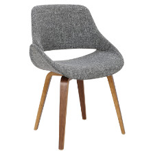 Fabrico Mid-century Modern Chair - Set Of 2 in Walnut and Grey Noise