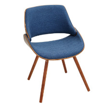 Fabrizzi Mid-century Modern Chair in Walnut and Denim Blue