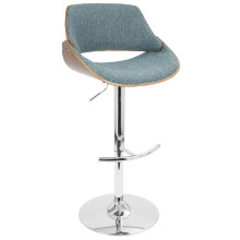 Fabrizzi Height Adjustable Mid-century Modern Barstool with Swivel in Walnut and Blue