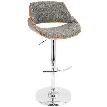 Fabrizzi Height Adjustable Mid-century Modern Barstool with Swivel in Walnut and Grey
