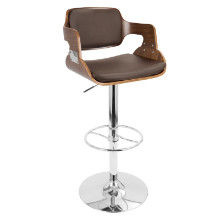 Fiore Height Adjustable Mid-century Modern Barstool with Swivel in Walnut and Brown