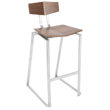 Flight Contemporary Stainless Steel Barstool in Walnut Wood  - Set of 2