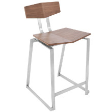 Flight Contemporary Stainless Steel Counter Stool in Walnut Wood  - Set of 2