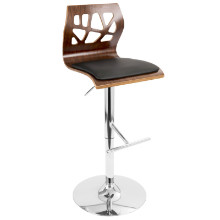 Folia Height Adjustable Mid-century Modern Barstool with Swivel in Walnut and Black
