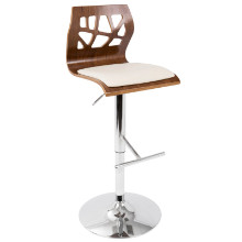 Folia Mid-Century Modern Height Adjustable Barstool In Walnut And Cream With Swivel